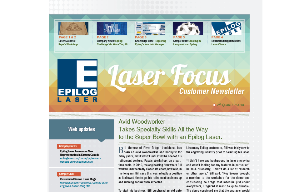 2nd Quarter 2014 Epilog Laser Newsletter