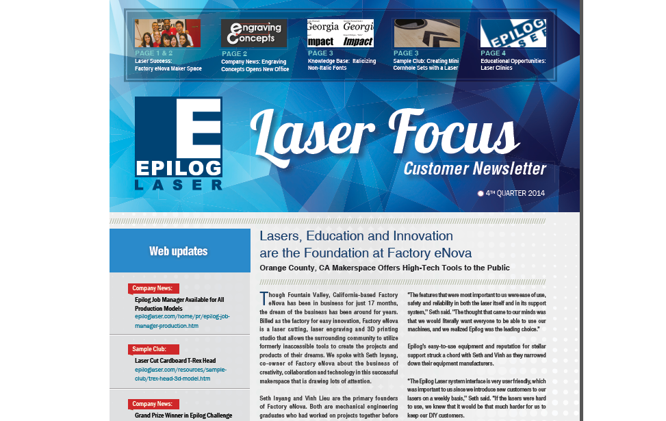 4th Quarter 2014 Epilog Laser Newsletter