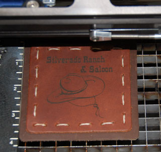engraved leather coaster