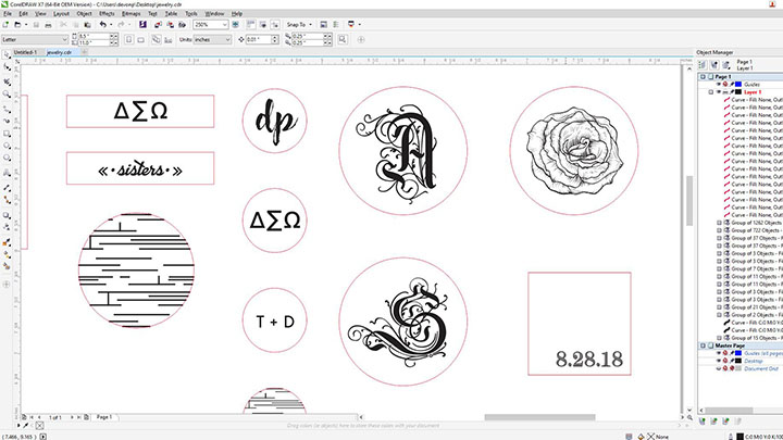 A screen shot of jewelry art in Corel Draw